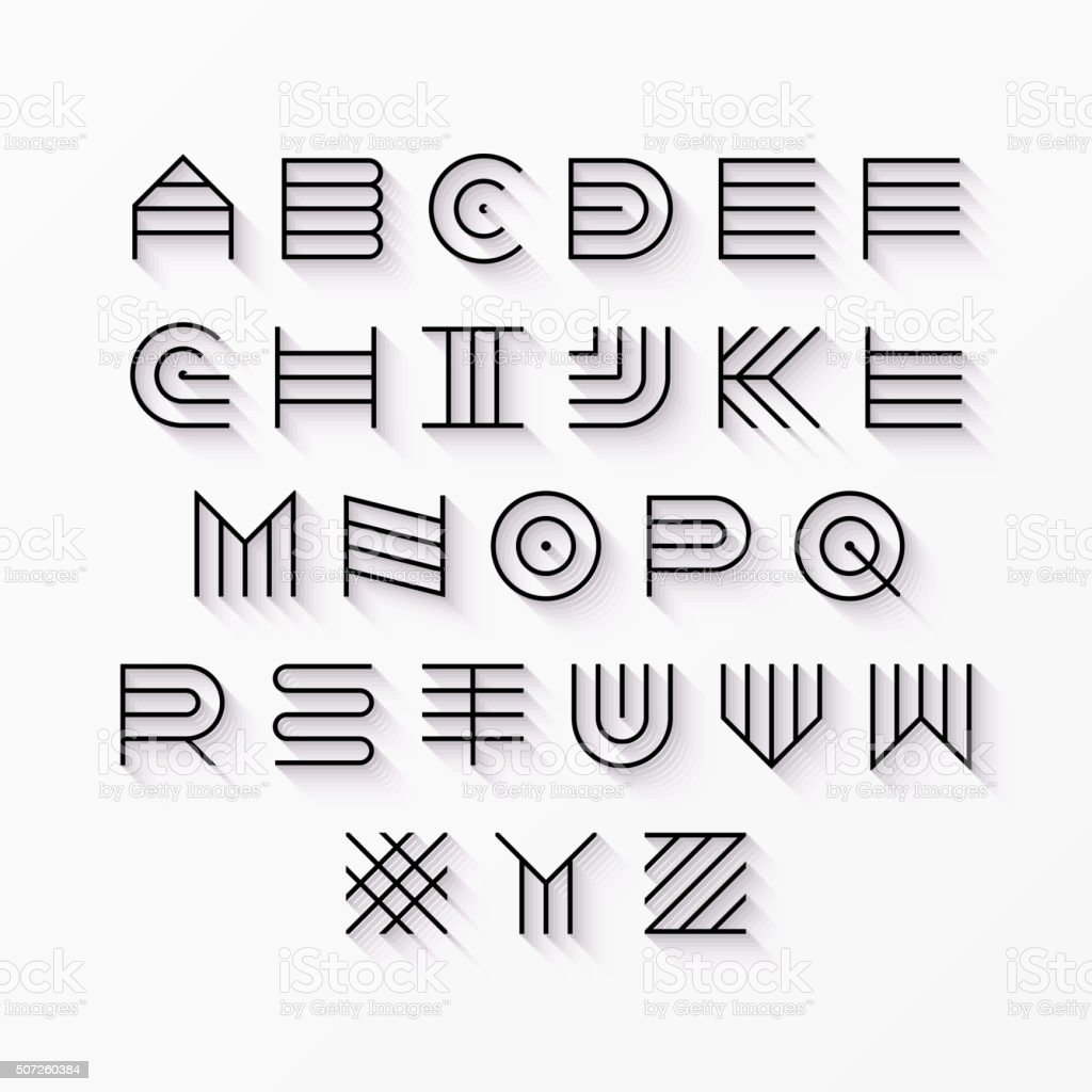 Thin line style, linear uppercase font vector art illustration