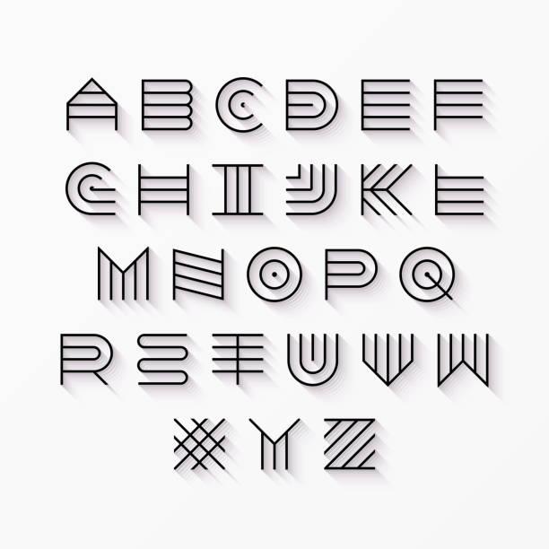 Thin line style, linear uppercase font vector art illustration