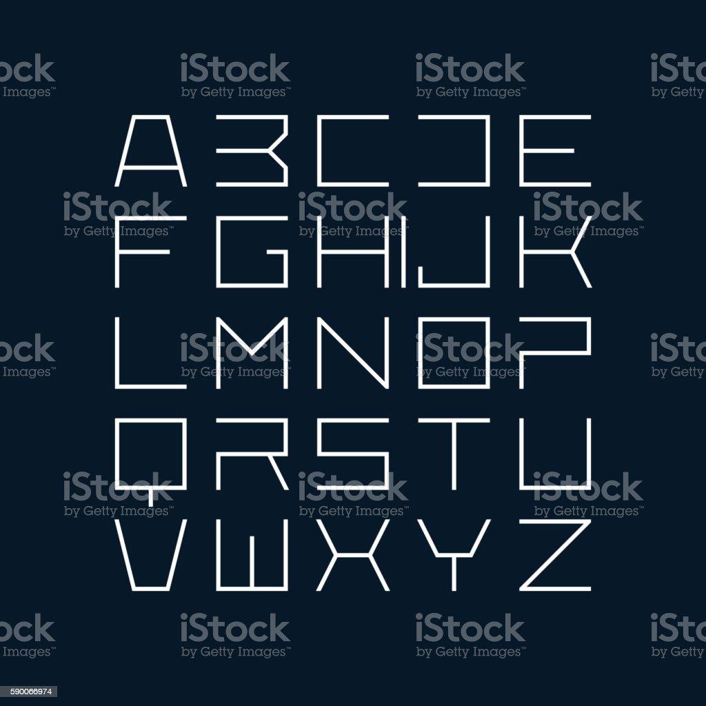 Thin line style modern font ベクターアートイラスト