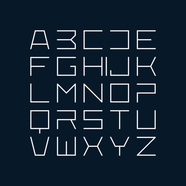 Thin line style modern font vector art illustration