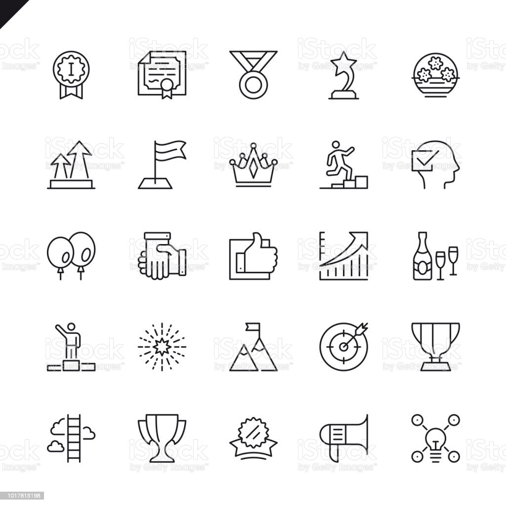 Delgada línea sussess, premios, conjunto de iconos de elementos de logro - ilustración de arte vectorial