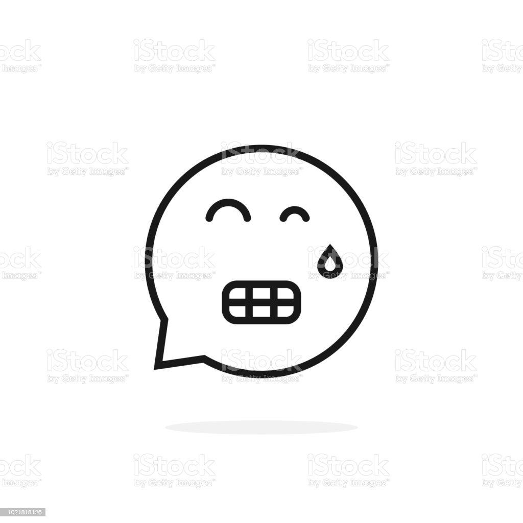 Thin Line Tense Emoji Speech Bubble Stock Vector Art & More Images