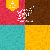Thin Line Thanksgiving Day Holiday Patterns Set. Four Vector Autumn Thanksgiving Dinner Design and Seamless Background in Trendy Modern Line Style. Traditional National Celebration