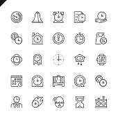 Thin line time icons set for website and mobile site and apps. Outline icons design. 48x48 Pixel Perfect. Linear pictogram pack. Vector illustration.
