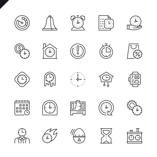 Thin line time icons set Thin line time icons set for website and mobile site and apps. Outline icons design. 48x48 Pixel Perfect. Linear pictogram pack. Vector illustration. waiting stock illustrations