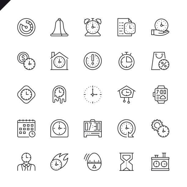 ilustrações, clipart, desenhos animados e ícones de conjunto de ícones de tempo linha fina - esperar