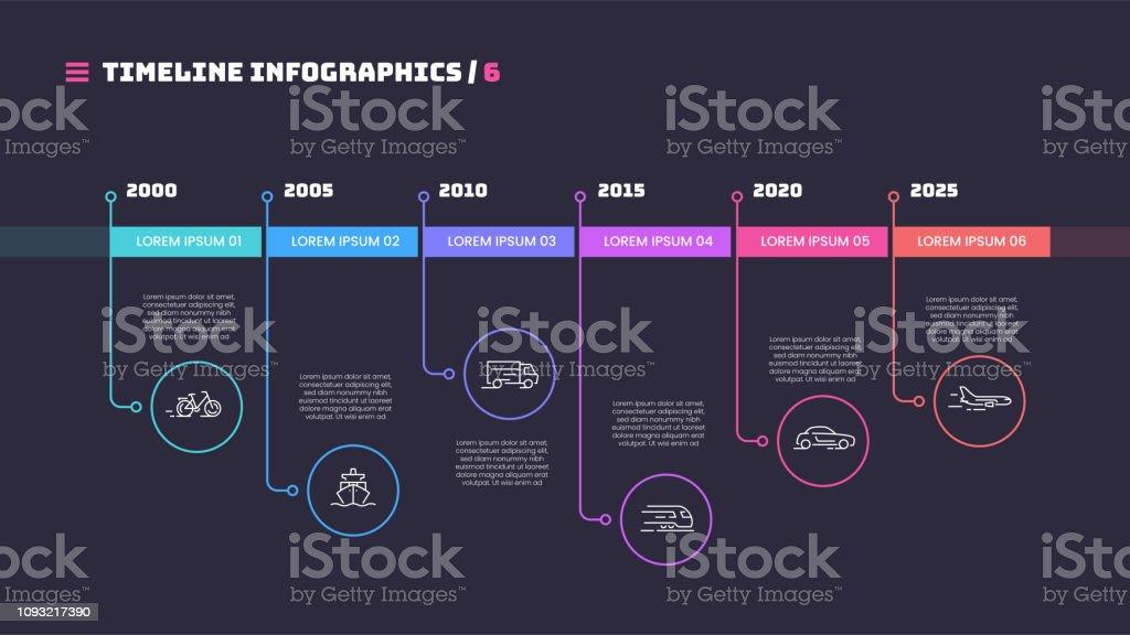 Linha fina cronograma mínimo infográfico conceito com seis períodos de tempo. Modelo de vetor para web, apresentações, relatórios e visualizações. - Vetor de Acontecimentos da Vida royalty-free