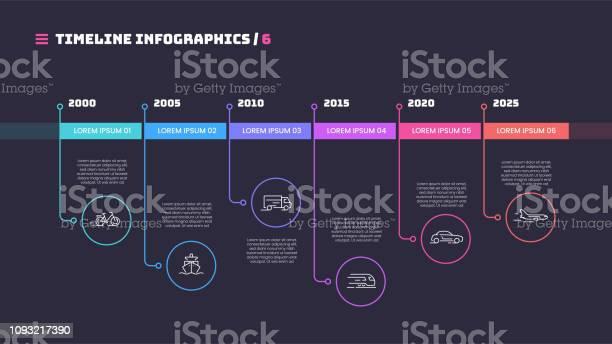 Vetores de Linha Fina Cronograma Mínimo Infográfico Conceito Com Seis Períodos De Tempo Modelo De Vetor Para Web Apresentações Relatórios E Visualizações e mais imagens de Acontecimentos da Vida