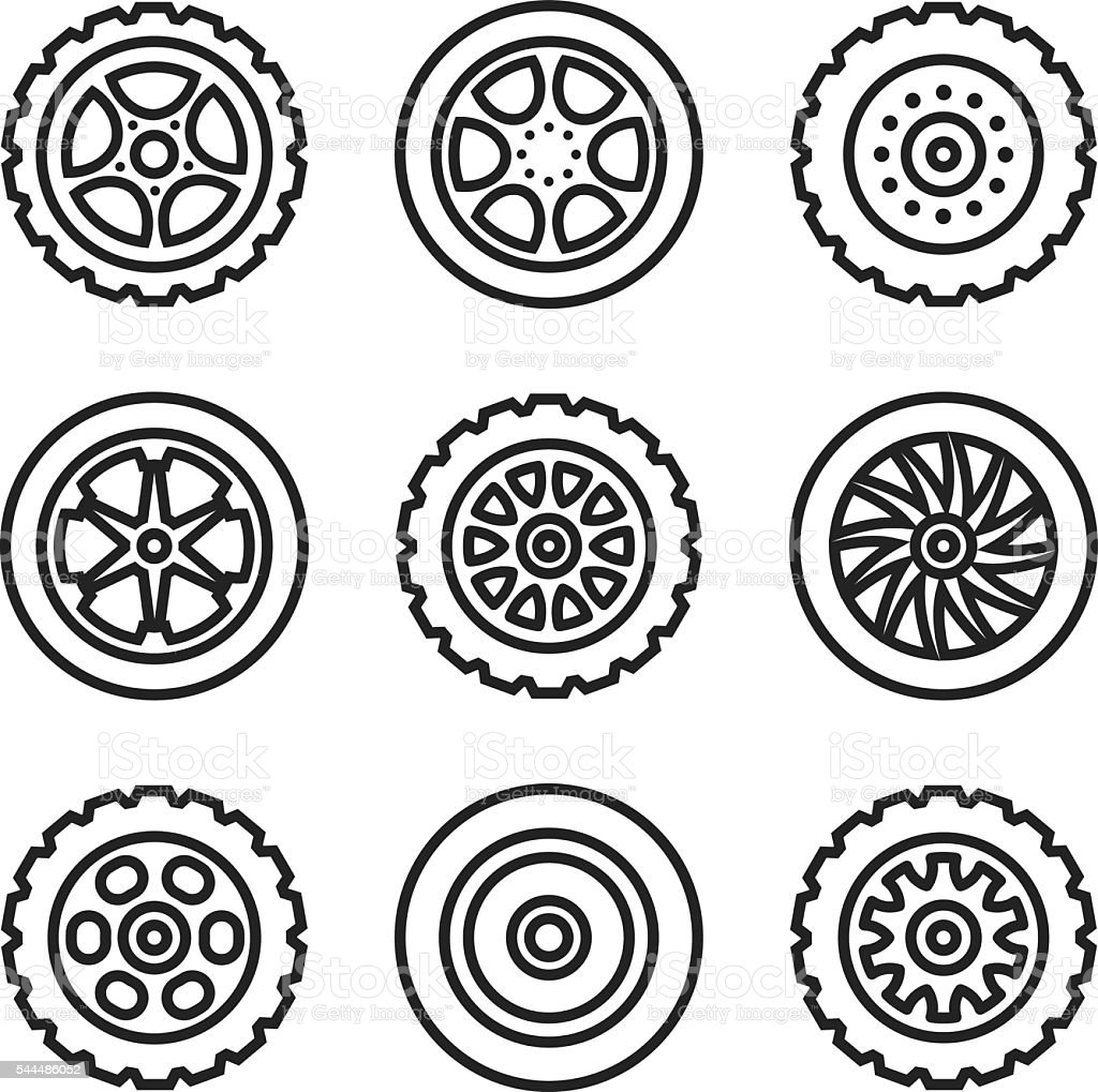Thin line tires, wheels icons set. Car tyres. Vector icons vector art illustration