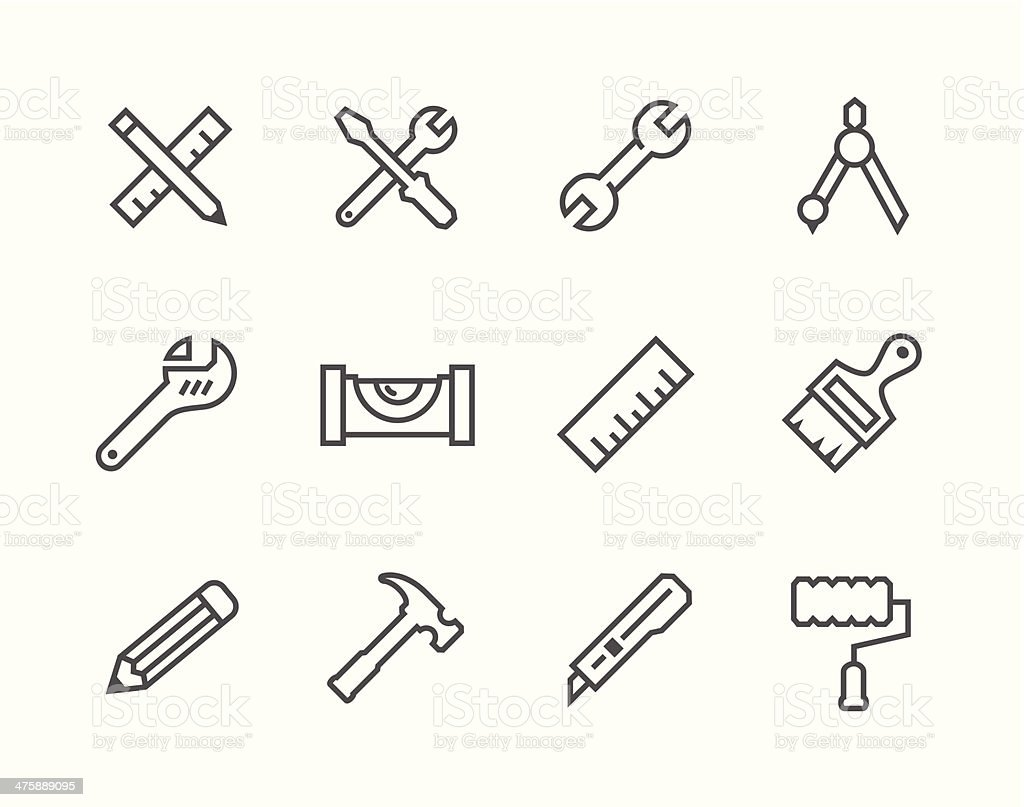 Thin line Tools icons vector art illustration