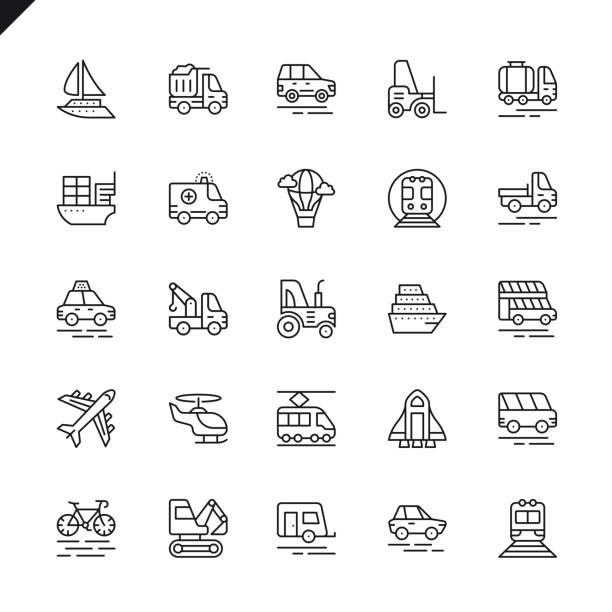 stockillustraties, clipart, cartoons en iconen met dunne lijn vervoer, voertuig en levering elementen pictogrammen instellen - airport pickup
