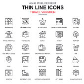 Thin line travel and tourism, for travel agencies icons set for website and mobile site apps. Contains such Icons as Booking, Holiday. 48x48 Pixel Perfect. Linear pictogram pack. Vector illustration.