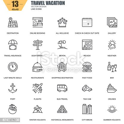 Thin line travel and tourism, for travel agencies icons set for website and mobile site apps. Contains such Icons as Booking, Summer Holiday. 48x48 Pixel Perfect. Editable Stroke. Vector illustration.
