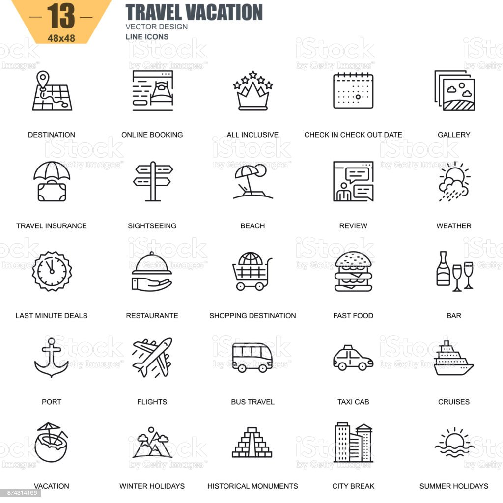 Thin line travel and tourism, for travel agencies icons vector art illustration