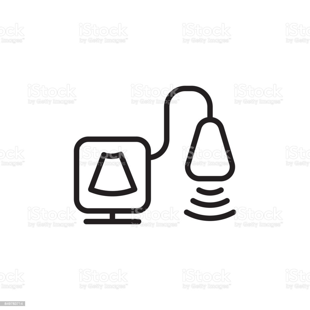thin line ultrasound icon vector art illustration