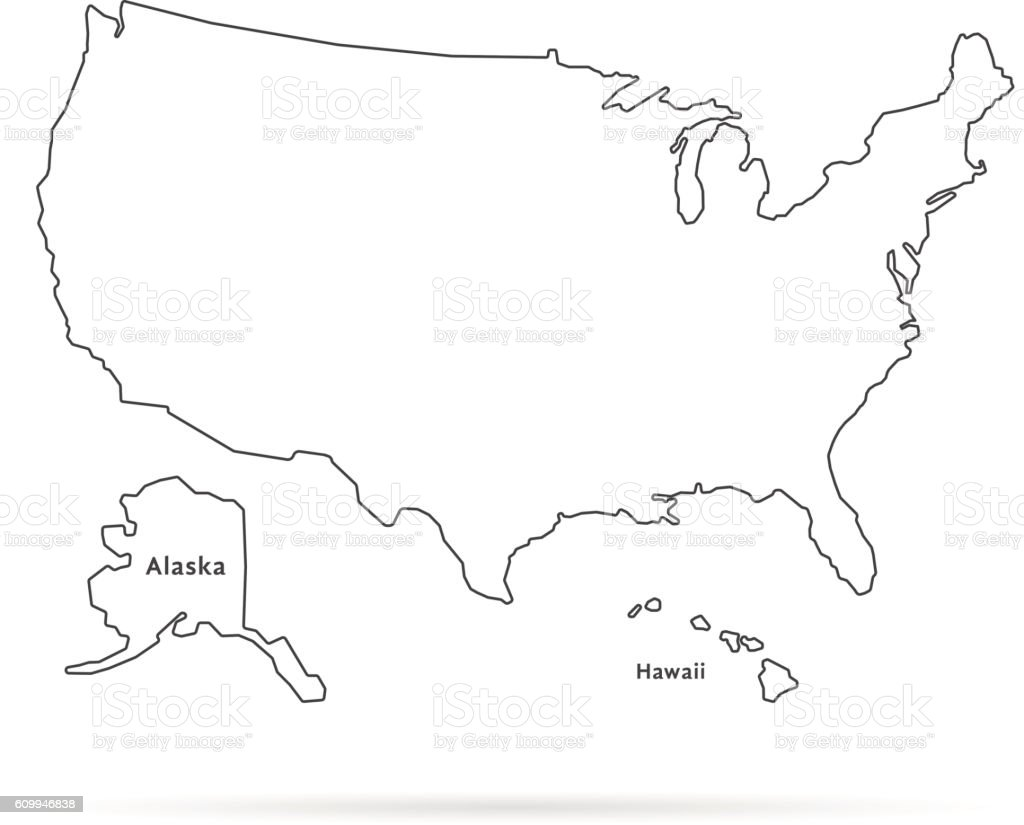 thin line usa map with other territories and shadow