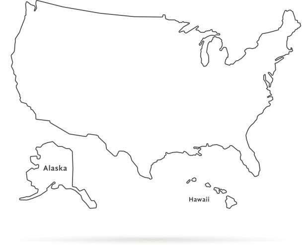 thin line usa map with other territories and shadow - Illustration vectorielle