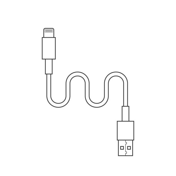 thin line usb lightning charging cable thin line usb lightning charging cable. concept of connection, tech, cell phone accessories, recharge, data transmission. flat style trend modern design vector illustration on white background cell phone charger stock illustrations