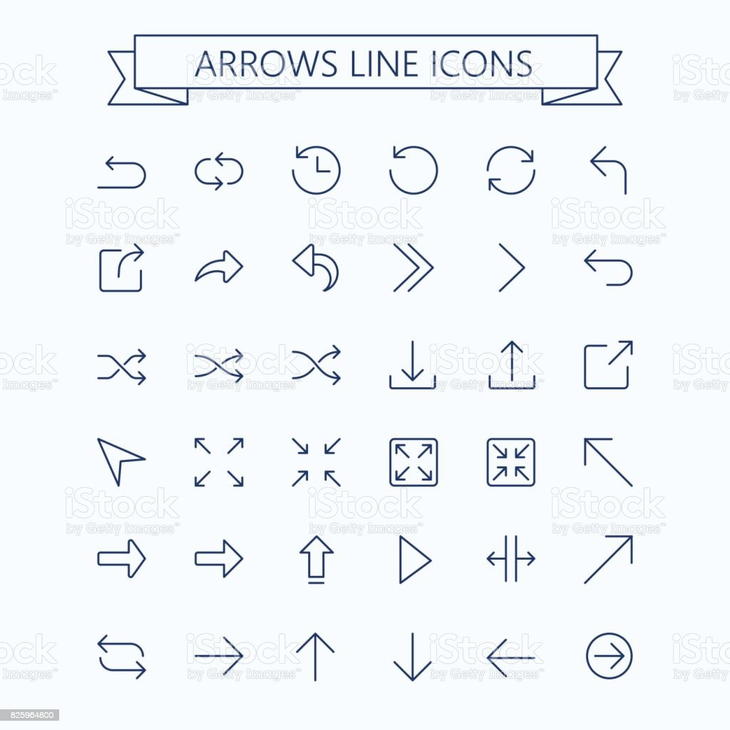 Thin line vector arrows icon set. Editable stroke. 24x24 px. Pixel Perfect. vector art illustration
