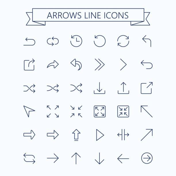 얇은 선 벡터 화살표 아이콘 세트입니다. 편집 가능한 선입니다. 24 x 24 픽셀. 픽셀 완벽 한입니다. - 날씬한 stock illustrations