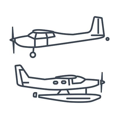 Thin line vector icon private airplane, seaplane, hydroplane