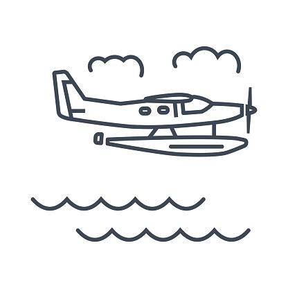thin line vector icon seaplane, hydroplane