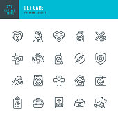 PET CARE - thin line vector icon set. Editable stroke. Pixel Perfect. Set contains such icons as Dog, Cat, Pets, Veterinarian, Grooming, Pet Food, Pet Carrier, Doctor, Paw Print, Pet Exam.