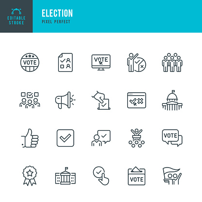 ELECTION - thin line vector icon set. Editable stroke. Pixel perfect. The set contains icons: Election, Politics, Voting, Capitol Building, White House, Presidential Election.