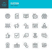 ELECTION - thin line vector icon set. 20 linear icon. Editable stroke. Pixel perfect. The set contains icons: Election, Politics, Voting, Capitol Building, White House, Presidential Election, Protest.