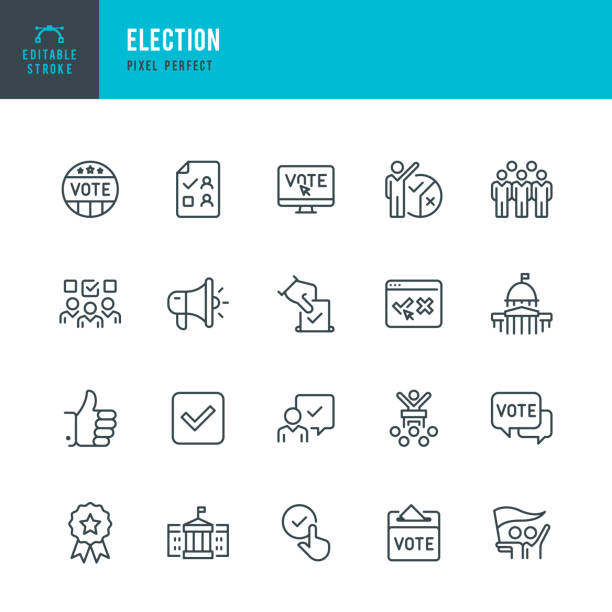 ELECTION - thin line vector icon set. Editable stroke. Pixel perfect. The set contains icons: Election, Politics, Voting, Capitol Building, White House, Presidential Election. ELECTION - thin line vector icon set. 20 linear icon. Editable stroke. Pixel perfect. The set contains icons: Election, Politics, Voting, Capitol Building, White House, Presidential Election, Protest. election stock illustrations