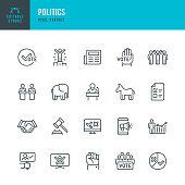 POLITICS - thin line vector icon set. 20 linear icon. Editable stroke. Pixel perfect. The set contains icons: Election, Politics, Voting, Donkey, Elephant, Presidential Election, Protest, Public Speaker.