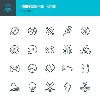 PROFESSIONAL SPORT - thin line vector icon set. Editable stroke. Pixel perfect. The set contains icons: Soccer, American Football, Basketball, Baseball, Boxing, eSports, Ice Hockey, Swimming, Figure Skating, Golf, Olympic Torch.