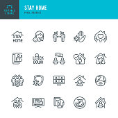 STAY HOME - thin line vector icon set. 20 linear icon. Pixel perfect. Editable outline stroke. The set contains icons: Stay at Home, Social Distancing, Quarantine, Video Conference, Working At Home, E-Learning.