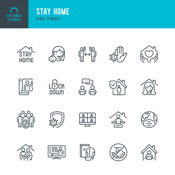STAY HOME - Dünnlinien-Vektor-Symbol-Set. Pixel perfekt. Bearbeitbarer Strich. Das Set enthält Symbole: Stay at Home, Social Distancing, Quarantäne, VideoKonferenz, Working At Home, E-Learning. – Vektorgrafik