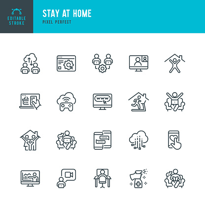 STAY AT HOME - thin line vector icon set. Pixel perfect. Editable stroke. The set contains icons: Stay at Home, Social Distancing, Quarantine, Video Conference, Working At Home, E-Learning, Fitness.