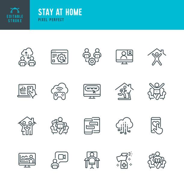 stay at home - dünnlinien-vektor-symbol-set. pixel perfekt. bearbeitbarer strich. das set enthält symbole: stay at home, social distancing, quarantäne, videokonferenz, working at home, e-learning, fitness. - abgeschiedenheit stock-grafiken, -clipart, -cartoons und -symbole