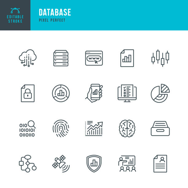 DATABASE - thin line vector icon set. Pixel perfect. Editable stroke. The set contains icons: Big Data, Biometric Data, Analyzing, Diagram, Personal Data, Cloud Computing, Archive, Stock Market Data, Brain. DATABASE - thin line vector icon set. 20 linear icon. Pixel perfect. Editable outline stroke. The set contains icons: Big Data, Biometric Data, Analyzing, Diagram, Personal Data, Network Server, Cloud Computing, Archive, Stock Market Data, Brain. technology icon stock illustrations