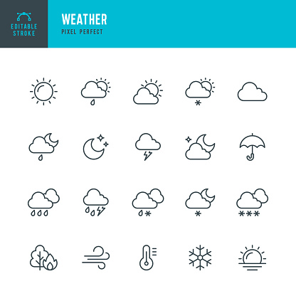 WEATHER - thin line vector icon set. Pixel perfect. Editable stroke. The set contains icons: Sun, Moon, Cloud, Winter, Summer, Rain, Snow, Blizzard, Umbrella, Snowflake, Sunrise, Wind.