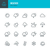 WEATHER - thin line vector icon set. 20 linear icon. Pixel perfect. Editable outline stroke. The set contains icons: Sun, Moon, Cloud, Winter, Summer, Rain, Snow, Blizzard, Umbrella, Snowflake, Sunrise, Wind.