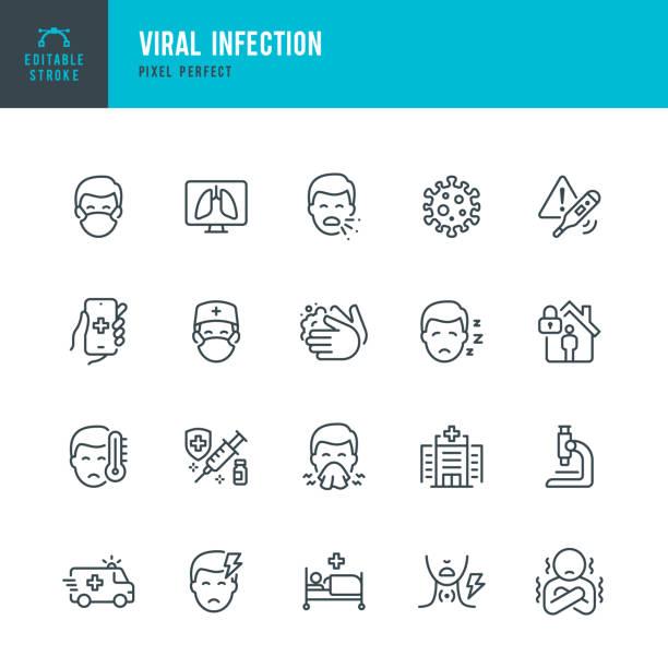 viral infection - набор векторных векторов тонкой линии. пиксель совершенен. редактируемый штрих. набор содержит значки: коронавирус, чихание, каше - болезнь stock illustrations
