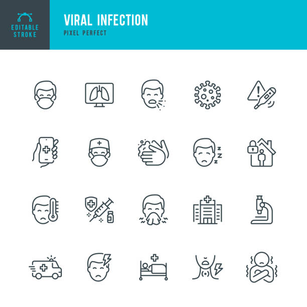 VIRAL INFECTION - thin line vector icon set. Pixel perfect. Editable stroke. The set contains icons: Coronavirus, Sneezing, Coughing, Doctor, Fever, Quarantine, Cold And Flu, Face Mask, Vaccination. VIRAL INFECTION - thin line vector icon set. 20 linear icon. Pixel perfect. Editable outline stroke. The set contains icons: Coronavirus, Virus, Sneezing, Coughing, Doctor, Fever, Quarantine, Headache, Cold And Flu, Face Mask, Washing Hands, Vaccination. covid icon stock illustrations