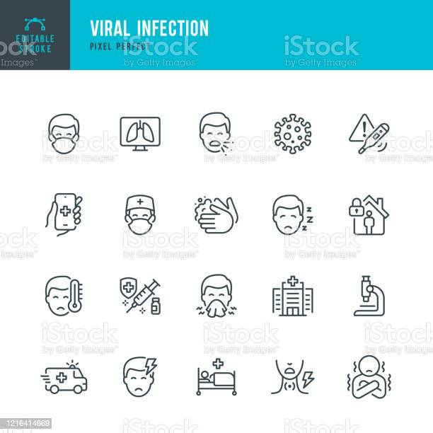 Viral Infection Thin Line Vector Icon Set Pixel Perfect Editable Stroke The Set Contains Icons Coronavirus Sneezing Coughing Doctor Fever Quarantine Cold And Flu Face Mask Vaccination Stock Illustration - Download Image Now