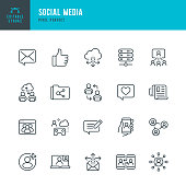 SOCIAL MEDIA - thin line vector icon set. 20 linear icon. Pixel perfect. Editable outline stroke. The set contains icons: Speech Bubble, Communication, Friends, Blogging, Community, Cloud Computing, Newspaper.