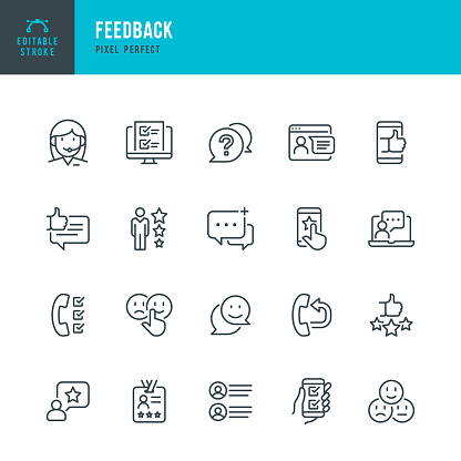 FEEDBACK - thin line vector icon set. Pixel perfect. Editable stroke. The set contains icons: Questionnaire, Feedback, Support, Thumb Up, Testimonial, Rating, Satisfaction.