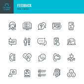 FEEDBACK - thin line vector icon set. 20 linear icon. Pixel perfect. Editable outline stroke. The set contains icons: Questionnaire, Feedback, Support, Thumb Up, Testimonial, Rating, Satisfaction.