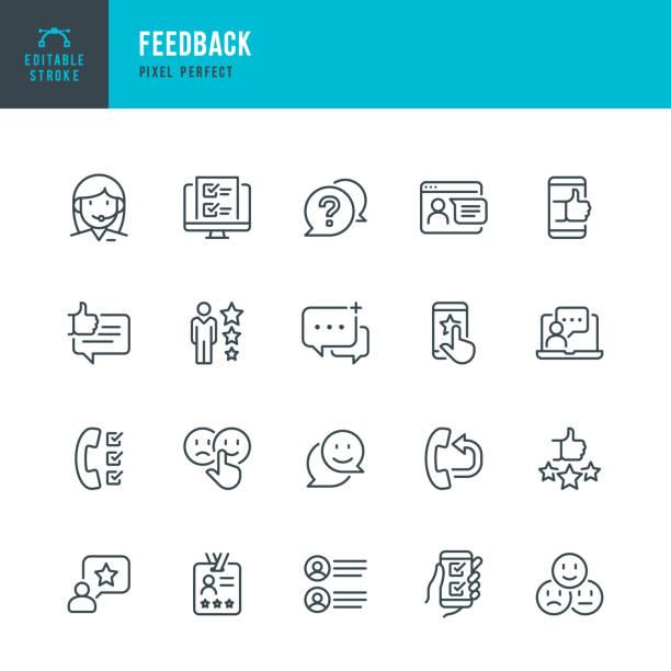 FEEDBACK - Dünnlinien-Vektor-Symbol gesetzt. Pixel perfekt. Bearbeitbarer Strich. Das Set enthält Symbole: Fragebogen, Feedback, Support, Thumb Up, Testimonial, Bewertung, Zufriedenheit. – Vektorgrafik