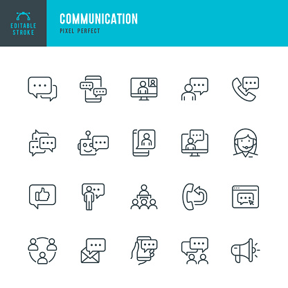 COMMUNICATION - thin line vector icon set. Pixel perfect. Editable stroke. The set contains icons: Speech Bubble, Communication, Application Form, Contact Us, Blogging, Community.
