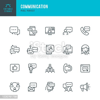 COMMUNICATION - thin line vector icon set. 20 linear icon. Pixel perfect. Editable outline stroke. The set contains icons: Speech Bubble, Communication, Application Form, Contact Us, Blogging, Community.