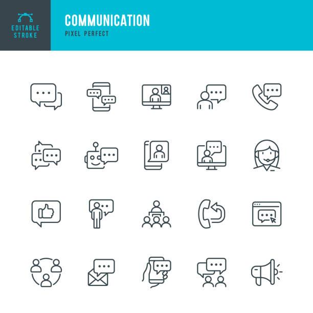 ilustrações, clipart, desenhos animados e ícones de comunicação - conjunto de ícones vetoriais de linha fina. pixel perfeito. traçado editável. o conjunto contém ícones: bolha de fala, comunicação, formulário de aplicativo, fale conosco, blogging, comunidade. - social media