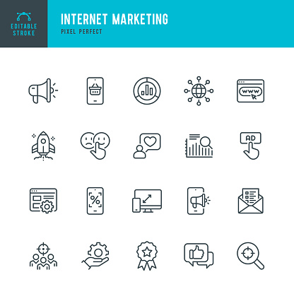 INTERNET MARKETING - thin line vector icon set. Pixel perfect. Editable stroke. The set contains icons: Online Shopping, Testimonial, Questionnaire, Megaphone, Rocket, Contented Emotion.